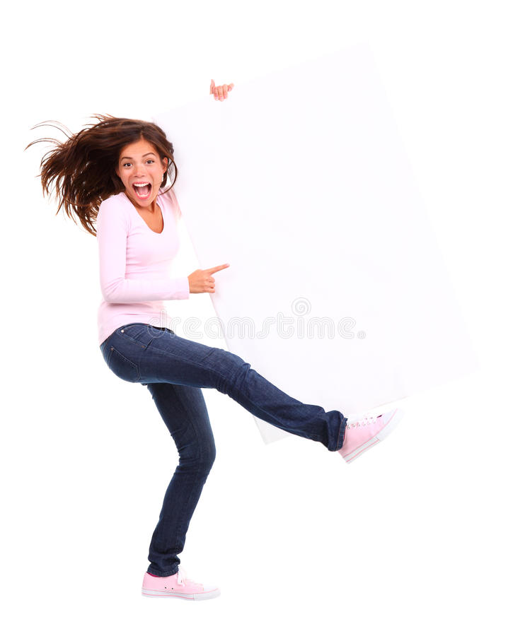 Download Excited woman holding sign stock image. Image of business - 12322261