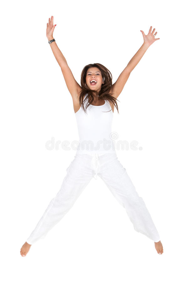 Download Excited woman jumping stock image. Image of background - 15520167