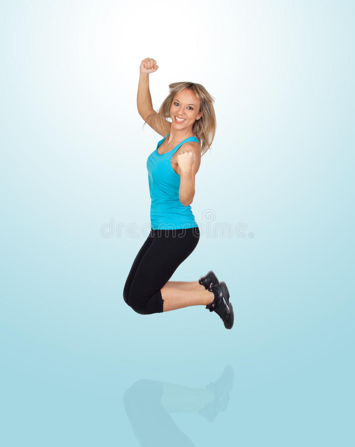 Excited Woman Jumping Royalty Free Stock Photos