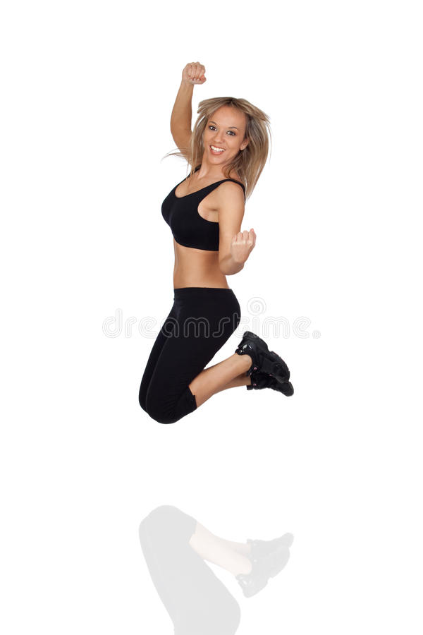 Download Excited Woman Jumping stock image. Image of energy, active - 29800341