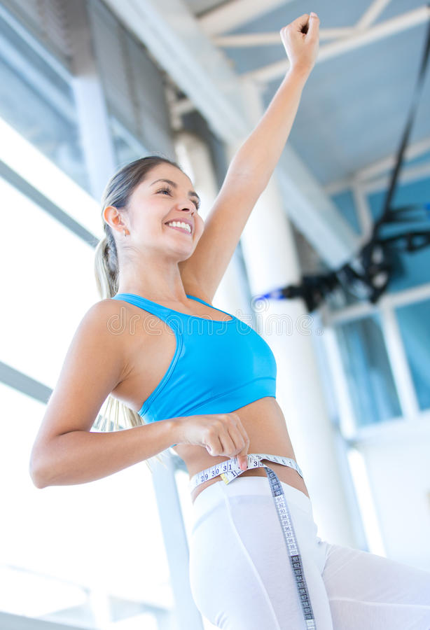 Download Excited Woman Loosing Weight Stock Image - Image: 27596263