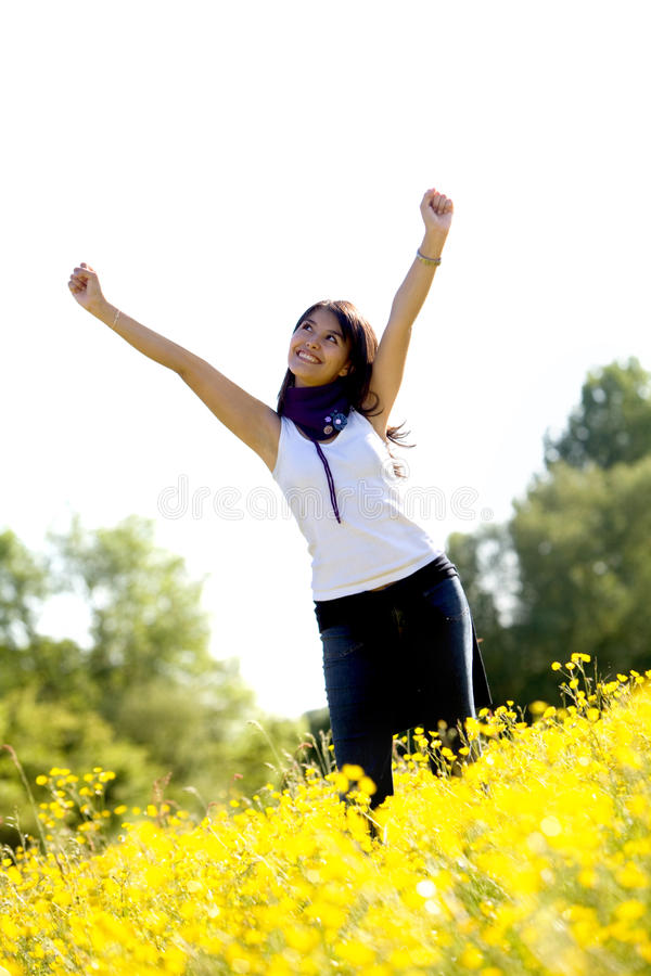 Download Excited woman in a meadow stock image. Image of beautiful - 13059337