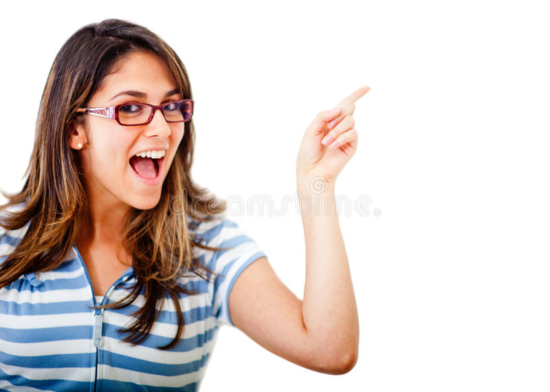 Excited woman pointing an idea