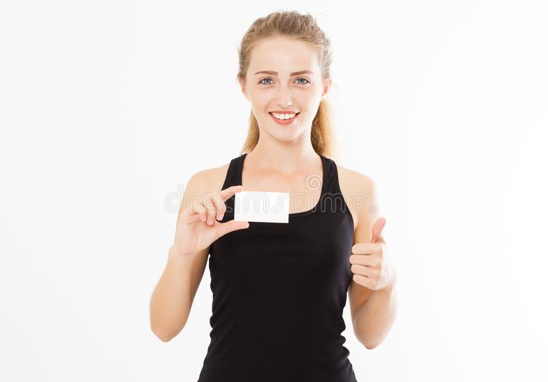 Excited woman showing empty blank paper card sign with copy space for text and show like. Gorgeous multi ethnic Chinese Asian stock image