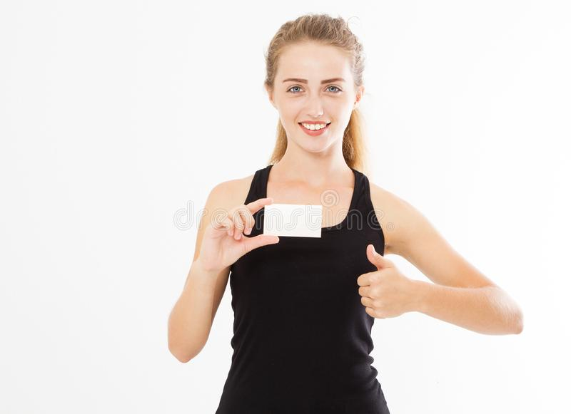 Excited woman showing empty blank paper card sign with copy space for text and show like. Gorgeous multi ethnic Chinese Asian. White Caucasian female model royalty free stock photos