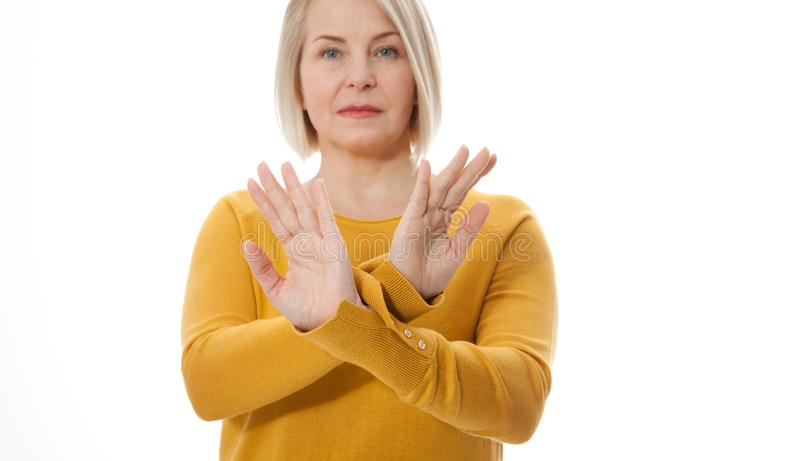 Excited woman showing the sign of stop, neglect, negation and reluctance stock images