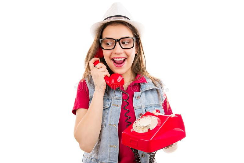 Excited woman talking on phone royalty free stock photography