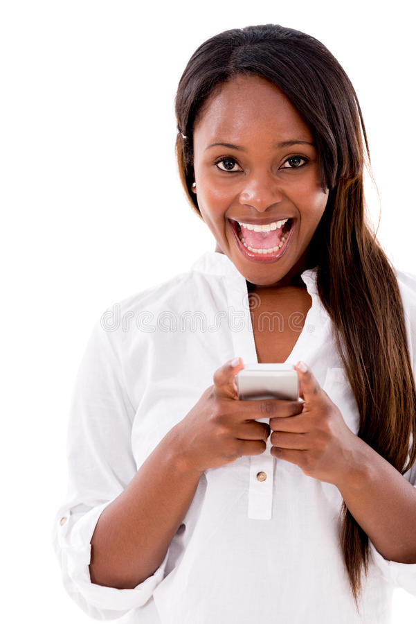 Download Excited Woman Texting On Her Phone Stock Photo - Image: 32027010