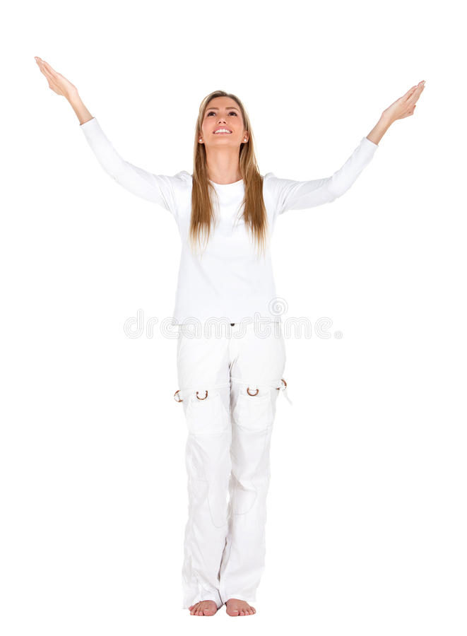 Download Excited woman in white stock image. Image of background - 15026387