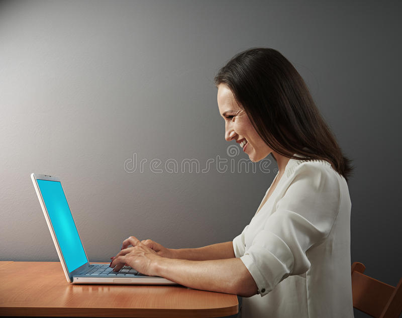 Download Excited Woman Working With Laptop Stock Image - Image: 31924911