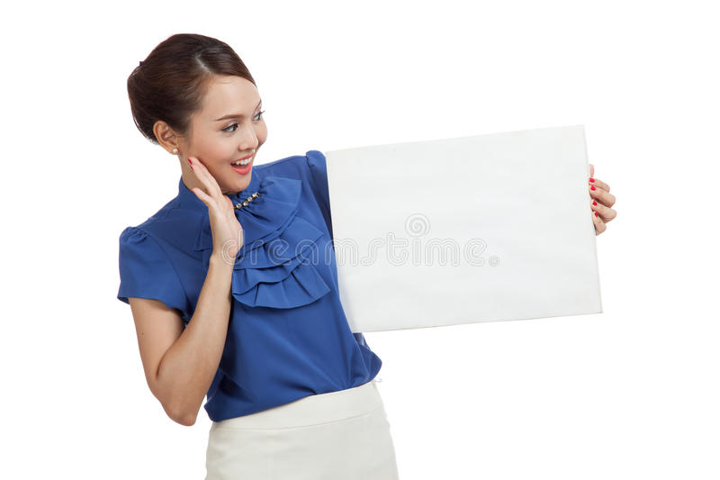 Excited young Asian woman with blank sign stock image