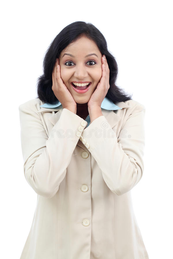 Excited young business woman stock photography
