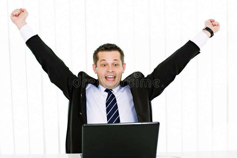 Excited young businessman stock photography
