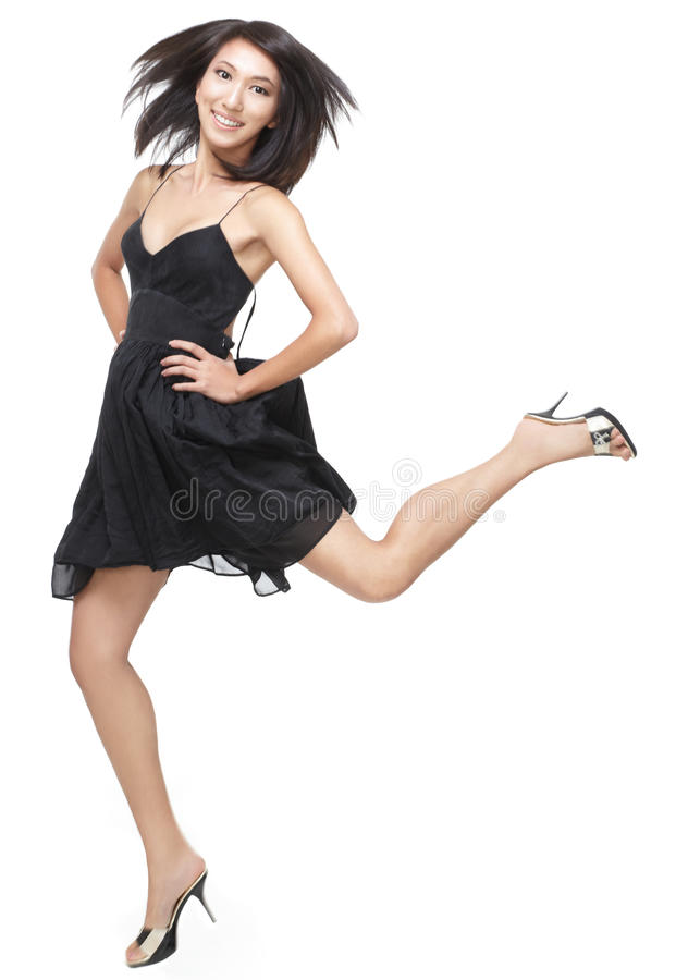 Download Excited Young, Chinese Girl Jumping With Joy Stock Image - Image: 10754769
