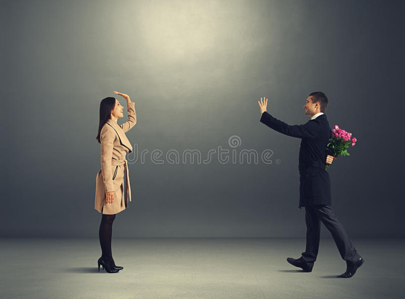 Excited Young Couple On The Date Royalty Free Stock Image