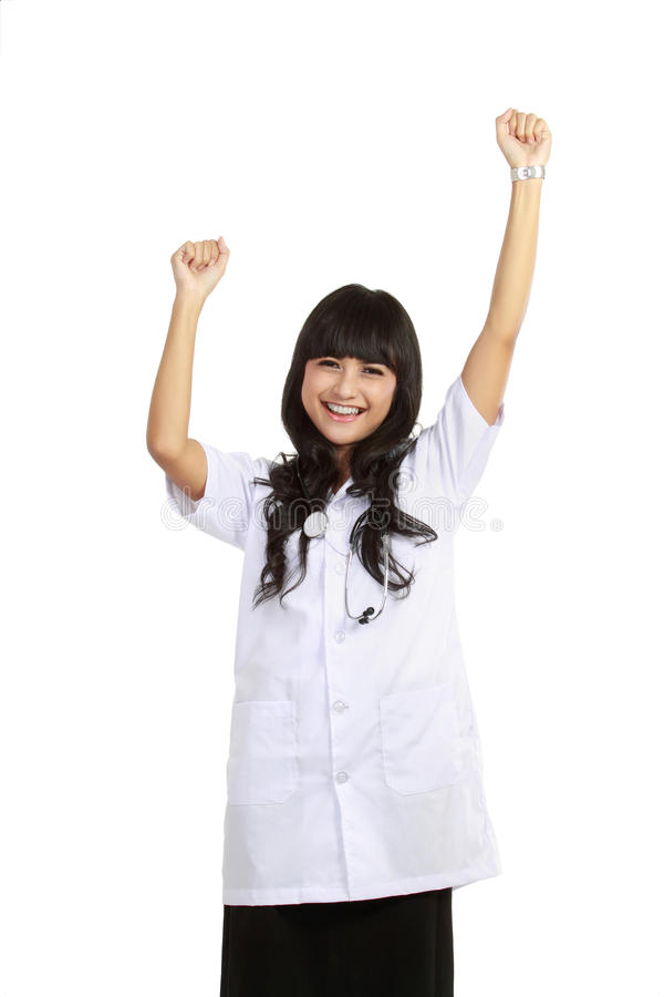 Excited young doctor