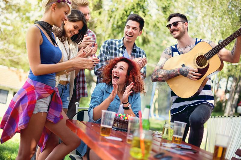 Excited young female have surprise party royalty free stock photography