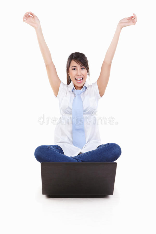 Free Excited Young Female With Laptop Royalty Free Stock Images - 16926419