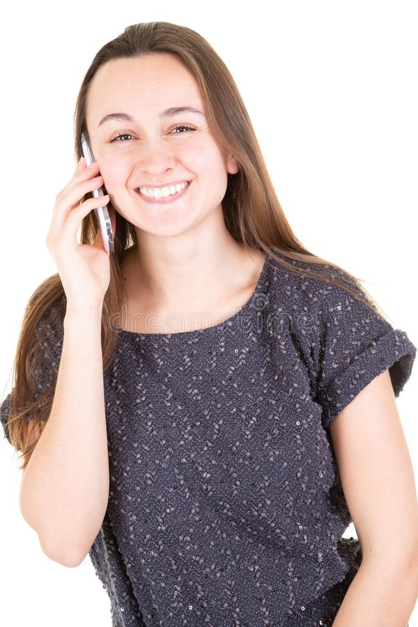 Excited young girl happy beautiful talk on her phone. An excited young girl happy beautiful talk on her phone royalty free stock photography