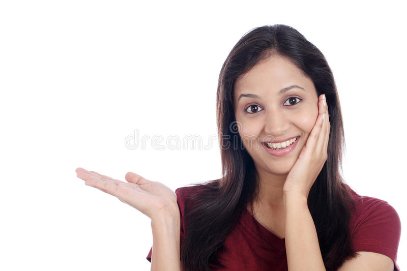 Excited young Indian woman royalty free stock photography