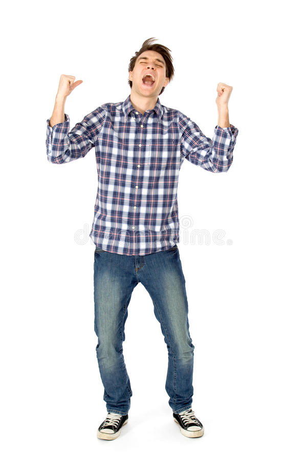 Download Excited young man stock image. Image of full, emotion - 18447125