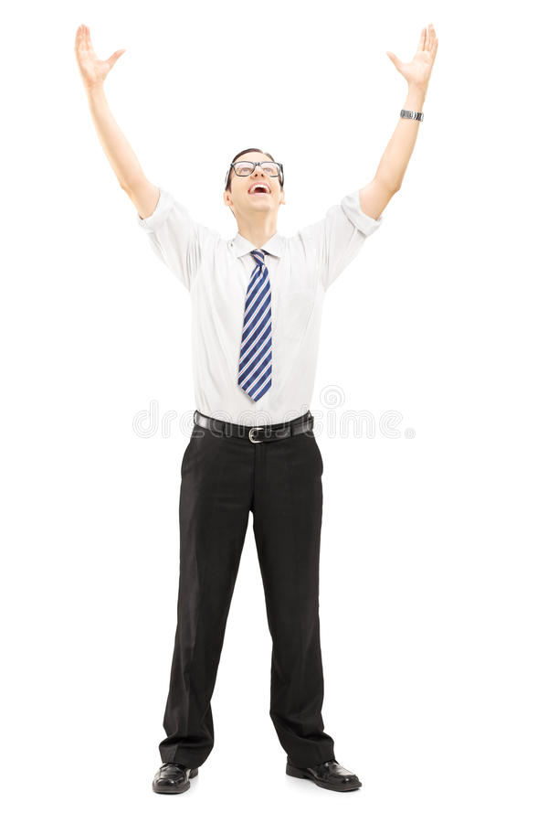 Download Excited Young Man With Raised Hands Stock Image - Image: 34173179