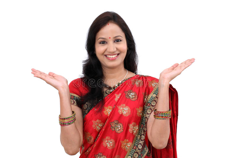 Excited young traditional Indian woman royalty free stock images