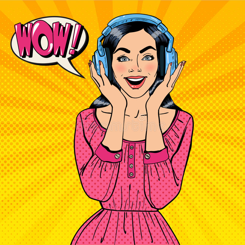 Excited Young Woman Listening Music. Girl in Headphones. Pop Art. Vector illustration vector illustration
