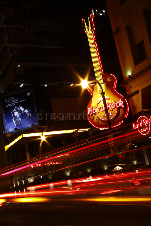 Download Exciting Atlanta - Hard Rock Cafe At Night Editorial Photography - Image of city, advertising: 18890392