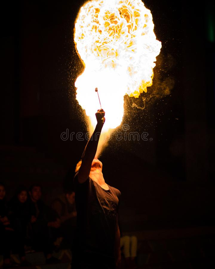 Exciting fiery breath at night royalty free stock photo
