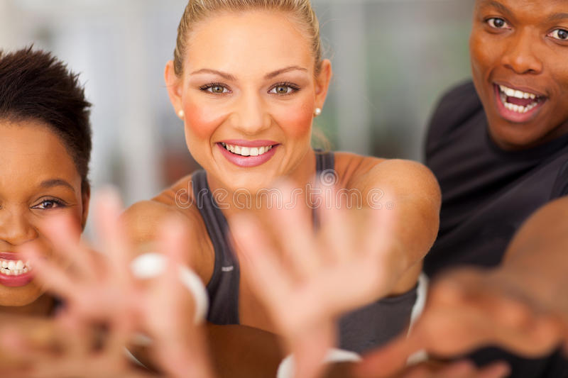 Exciting fitness team stock images