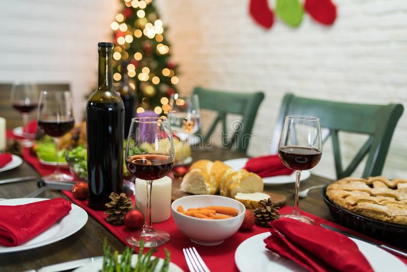 Exciting Meal On Dining Table At Home For Christmas Party royalty free stock photos