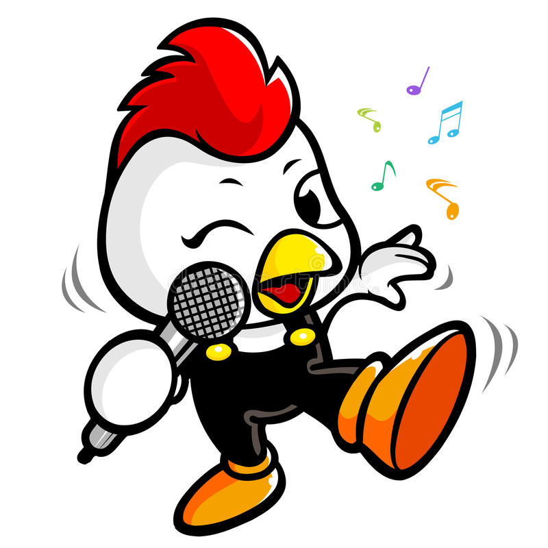 Download Exciting Music And Singing Chicken Stock Illustration - Illustration of microphone, line: 26515899