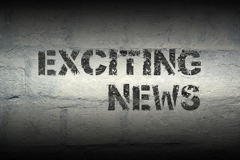 Exciting news gr. Exciting news stencil print on the grunge white brick wall royalty free stock photos