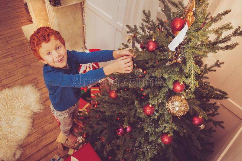 Top view of cute red-haired boy decorating Christmas tree royalty free stock photo