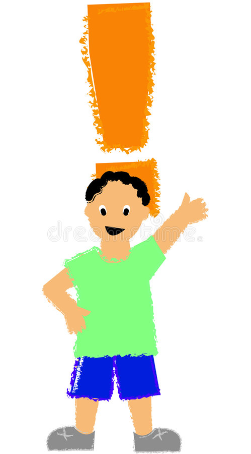 Exclamation Boy/ai royalty free stock photo