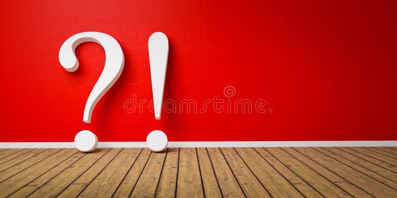 exclamation 3D blanche et point d'interrogation rouge au mur grunge en b?ton rouge - concept de FAQ - 3D rendu - illustration illustration libre de droits
