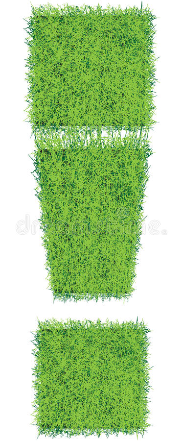 Exclamation mark. The exclamation point of the squares of grass soil. Vector illustration stock illustration