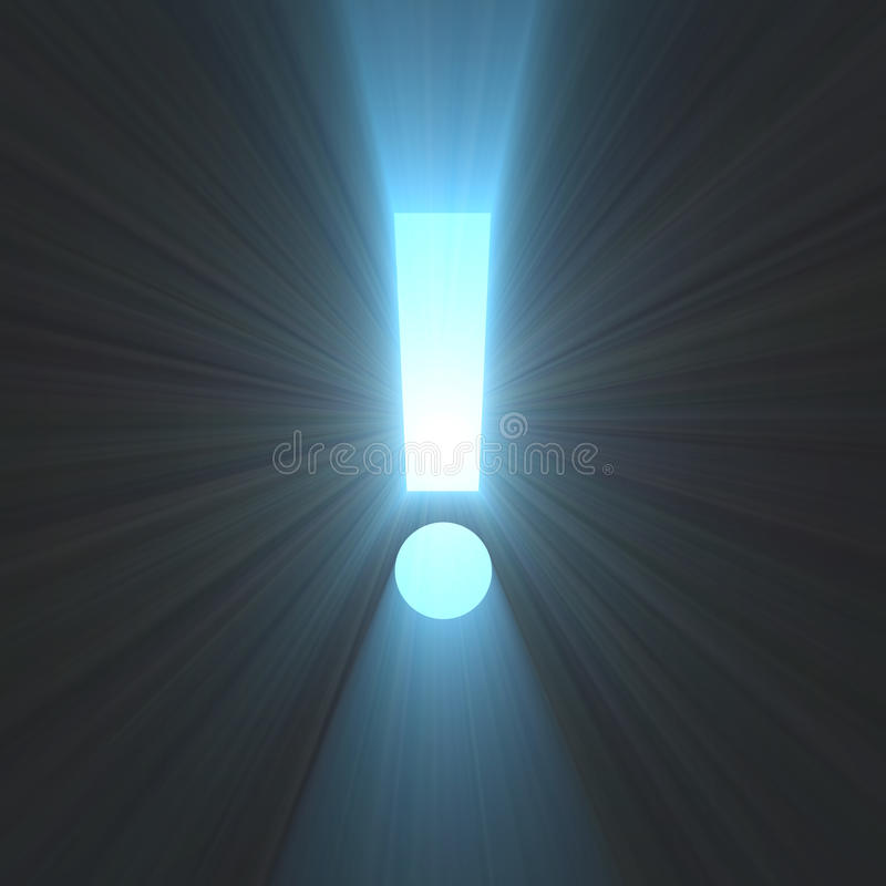 Exclamation mark bright light flare. Exclamation sign with powerful light rays. Expression emphasis dangers symbol stock illustration
