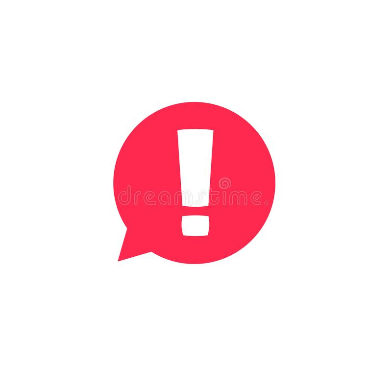 Exclamation mark in bubble speech vector icon, concept os attention or warning sign, hazard or caution alert message stock illustration