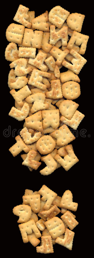 Exclamation mark consisting of piles of delicious cookies stock image