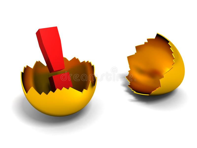 Exclamation mark in the gold shell of egg. 3d royalty free illustration