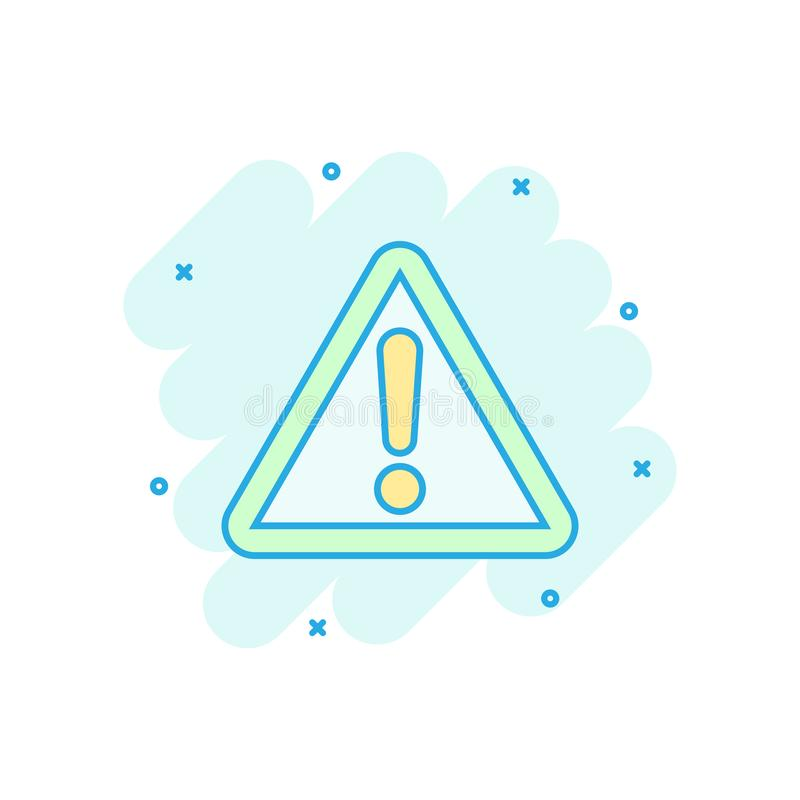 Exclamation mark icon in comic style. Danger alarm vector cartoon illustration pictogram. Caution risk business concept splash stock illustration