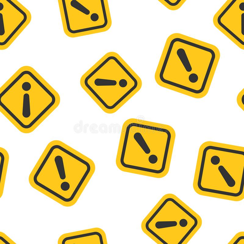 Exclamation mark icon seamless pattern background. Danger alarm vector illustration on white isolated background. Caution risk stock illustration