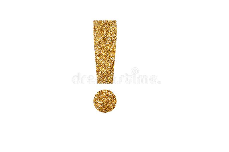 Exclamation mark. English alphabet. Isolated on white background. Exclamation mark. Letters and Numbers from golden grains of sand. English alphabet. Isolated on royalty free stock photo