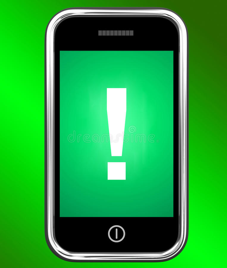 Exclamation Mark On Phone Shows Attention Warning stock illustration