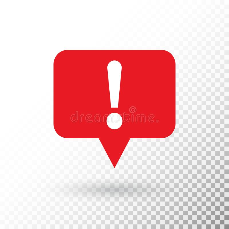 Exclamation mark in red speech bubble. Hazard warning symbol in flat design style. Attention button isolated on. Transparent background.. Warning sign. Vector royalty free illustration