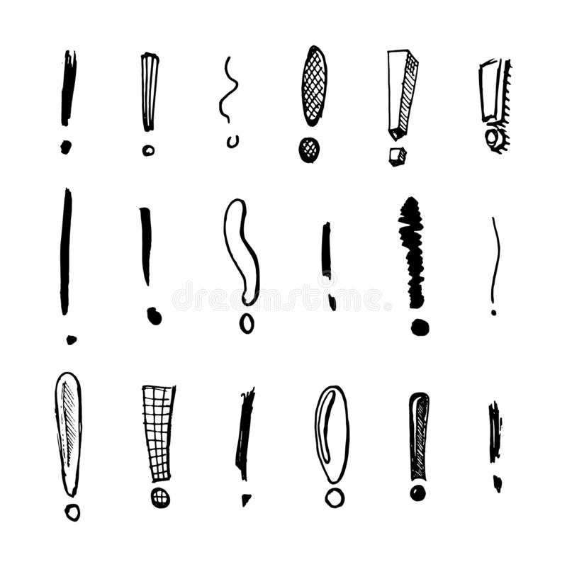 Exclamation mark Seamless pattern.. Doodle style. Collection of icons and signs Why. Engraved hand drawn sketch vector illustration