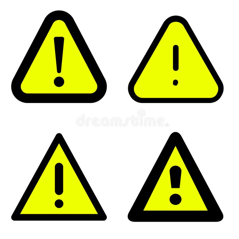 Exclamation mark set icons in flat style. Danger alarm collection vector illustration on white isolated background. Caution risk b vector illustration