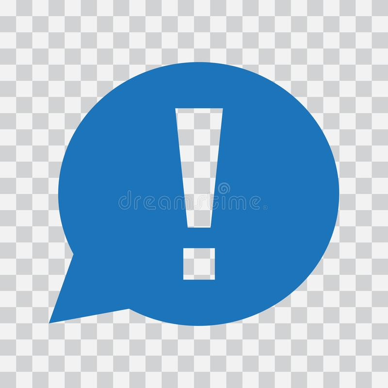 Exclamation mark in speech bubble. Warning or attention sign. Vector illustration. Exclamation mark in speech bubble. Warning or attention sign. Blue icon on vector illustration